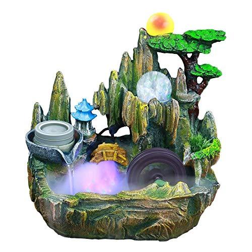 AIRER Mini Tabletop-Brunnen, Innen Wasserspiel Steingarten Desktop Brunnen Wasserfall und Wasserrad Rollende Kugel Dekor, mit Zerstäubungsbefeuchter, EIN Tolles Dekorationsgeschenk