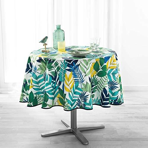 Mantel Redondo (0) 180 cm, poliéster, diseño de Palma, Color Blanco