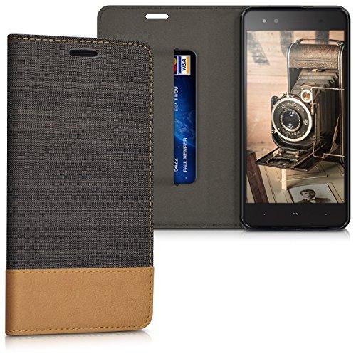 kwmobile bq Aquaris X5 Plus Hülle - Stoff Handy Cover Case mit Ständer - Schutzhülle für bq Aquaris X5 Plus - Anthrazit Braun