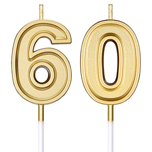 Frienda 60th Birthday Candles Cake Numeral Candles Happy Birthday Cake Candles Topper Decoration for Birthday Wedding Anniversary Celebration Supplies