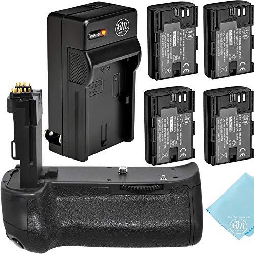 Battery Grip Kit for Canon EOS 70D, EOS 80D, EOS 90D Digital SLR Camera Includes Vertical Battery Grip BG-E14 Replacement + Qty 4 BM Premium LP-E6 Batteries + Rapid AC/DC Charger