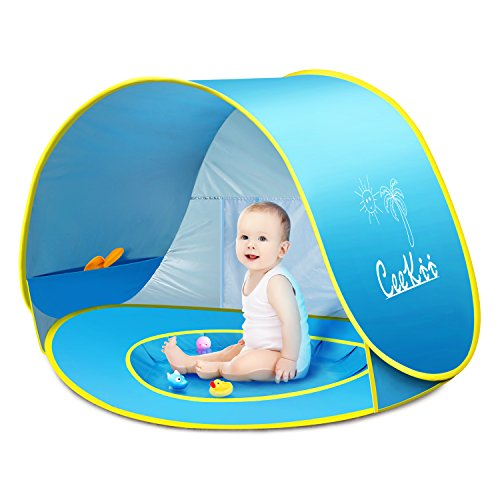 CeeKii Tienda Playa Bebe, Pop-up Tienda de bebé con Piscina para Infantil Carpa Plegable Portátil Protección Solar Anti UV 50, Tienda Campaña Playa para Bebés para Vacación Playa Parque