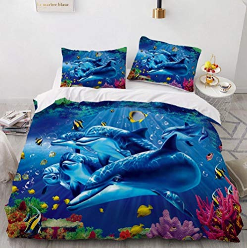 Tr674gs 3D Bettwäsche-Delfin Angeln Diagramm-König Kit-Digitaldruck Muster-Erwachsenen-Kinderbett dreiteiliges Kit-versteckter Reißverschluss-bequem-weiche Bettwäsche-240 × 220cm
