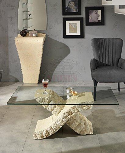 Stones Xenon Tavolino da Salotto, Pietra, Beige, 120x60x40 cm