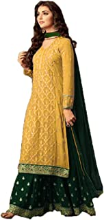 Zarina Fashion Women's Georgette Embroided Indian Full Stitched Suit with Palazzo and Dupatta (Yellow)