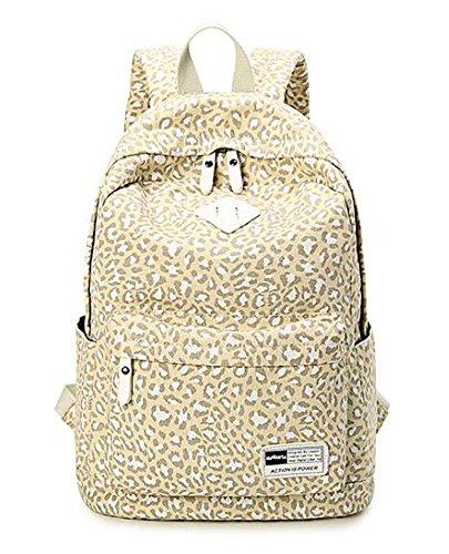Cliont Mochila de lona de leopardo mochila de viaje bolsa de la escuela para las mujeres niñas