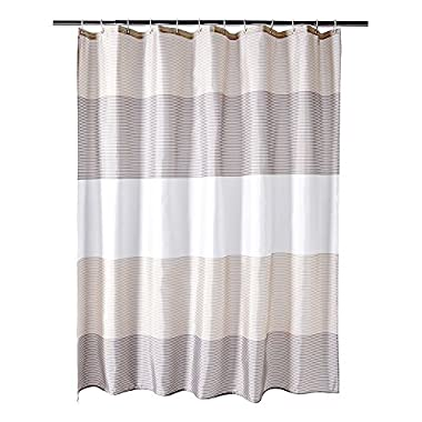 BUZIO Shower Curtain with 12 Hooks, Mildew Resisant Fabric Bathroom Curtain, Water Repellent and Anti-bacterial Brown and Beige Strip, 72 x 72 Inches