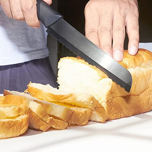 Muncene Advanced Ceramic Bread Knife – Ceramic Serrated Slicing Knife – Never Need to Sharpen – 6″ Sharp Blade