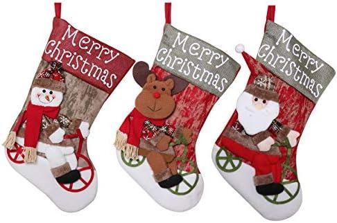 Camisin 3 stuks kerst kousen gepersonaliseerde grote kousen kerstman en sneeuwpop en elanden voor kerstfeest decoraties