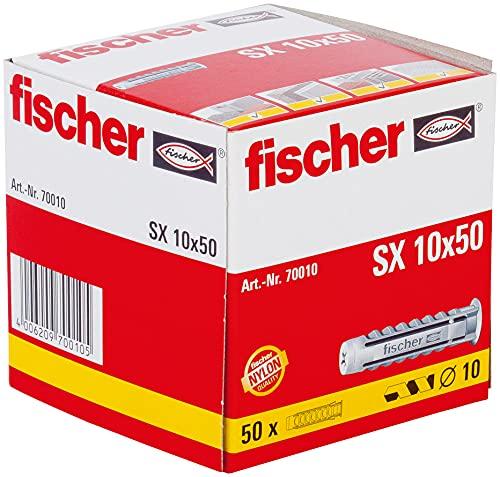 fischer Spreizdübel SX 10 x 50, Schachtel mit 50 Nylondübeln, Dübel für optimalen Halt bei Befestigungen in Beton, Hochlochziegel, Porenbeton, Vollziegel uvm.