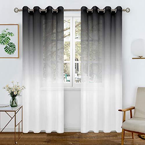 BGment Leinen-Optik Farbverlauf Sheer Vorhänge für Wohnzimmer, Light Filter und Privat Halbtransparent Voile Gardinen mit Ösen für Schlafzimmer, 2 Stück(H214 x B132 cm, Schwarz und Weiß
