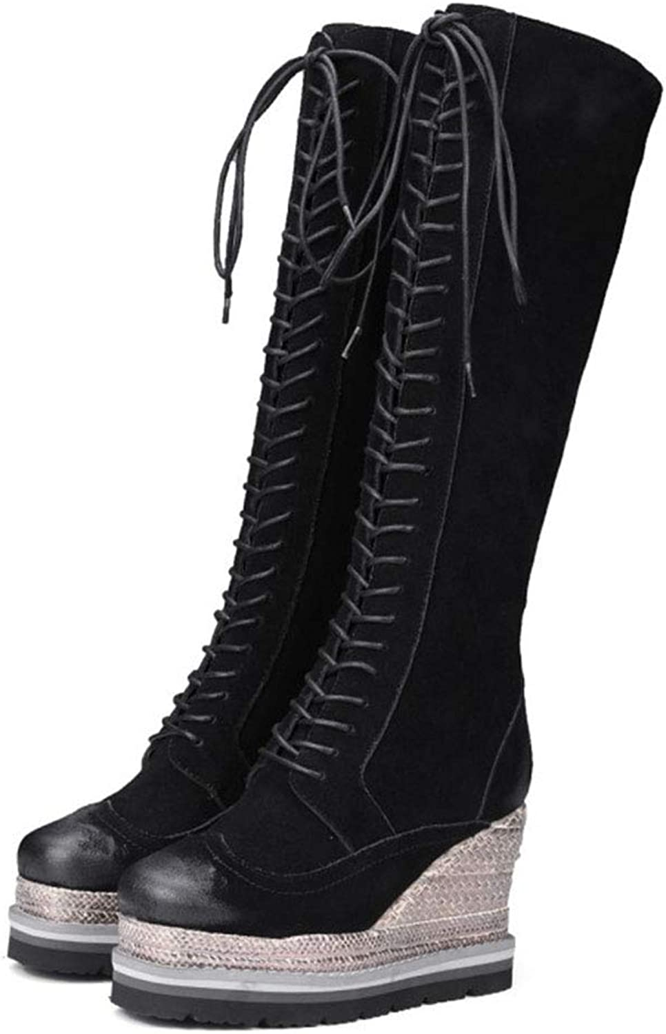 GONGFF Over The Knee Martin Boots Cowhide Belt Buckle Women's Boots Pointed Thick High Heel Long Boots