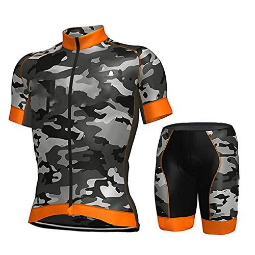 Maillot De Ciclismo Conjunto Para Hombre,Naranja Diseño De Camuflaje Road Riding Mtb...