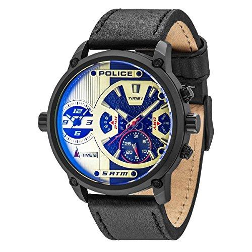 police Reloj Multiesfera para Hombre de Cuarzo con Correa en Cuero PL14833JSB.04