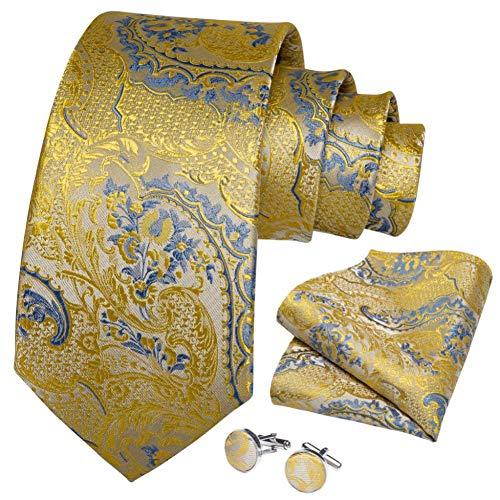WOXHY Cravate Homme Ensemble de Cravate Cadeau de Bouton de Manchette de Mariage en Soie Florale Florale Bleu Or Design Business Party Fashion