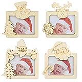 Inntek 4 Pezzi Decorazioni per cornici di Natale in Legno Decorazioni per la tavola con Ornamenti per Foto Decorazioni per la tavola con ciondoli Natalizi Decorazioni per la casa per Feste