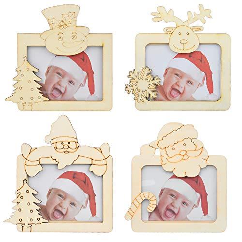Inntek - Juego de 4 Marcos de Fotos de Navidad, de Madera Natural Grabado para Decoración de Escritorio de Navidad familiar, Adornos de Fotos para Mesa Niños, Accesorios de Decoración Regalo