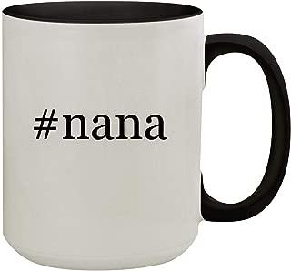 #nana - 15oz Hashtag Colored Inner & Handle Ceramic Coffee Mug, Black