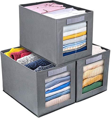 DIMJ 3 Stück Aufbewahrungsboxen, Faltbox mit Transparentem Sichtfenster Faltbare Aufbewahrungskiste mit Schlaufe für Kleiderschrank, Kleidung, Bücher, Kosmetik, Spielzeug usw. Grau