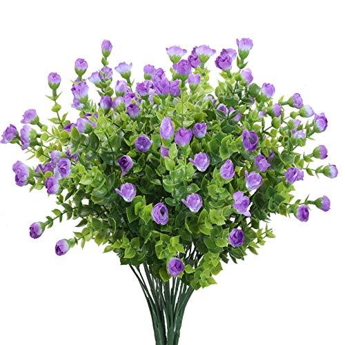 DWANCE 4PCS Künstliche Blumen Eukalyptus deko Plastikblumen Rosen Blumenstrauß Künstliche Eukalyptus Pflanze für Vase Zimmer Tischdeko Balkon Garten Hochzeit Dekoration Lila