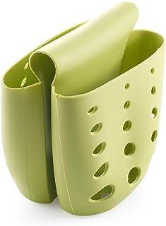 SKONEHD キッチン排水バッグ シンクサドル ダブルシリコンスポンジホルダー シンクラック ストレージオーガナイザー ソープディッシュ(グリーン)