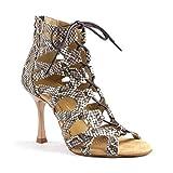PortDance Mujeres Zapatos de Baile PD804 Pro - Cuero Marrón - 7 cm Flare [EUR 38]