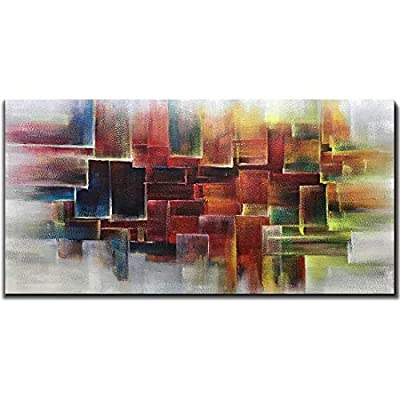 Amei Art Paintings,24X48 Inch Hand-Painted Oil Paintings on Canvas Colorful Square Abstract Painting Contemporary Artwork Home Decor Simple Modern Wall Art Wood Inside Framed Ready to Hang from Amei Art
