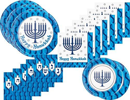 Hanukkah Plates and Napkins Bundle for 16 Guests - Menorah