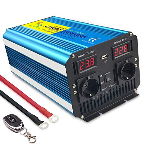 Inversor de Corriente de Onda sinusoidal Pura 3000W Convertidor DC 24V a AC 220V 230V con Control Remoto Salidas de AC Dobles & Pantalla LED para el Uso en el hogar del Carro de RV