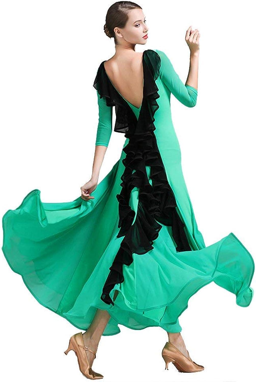 Modern Dance Skirt Retro Cheongsam Collar Ballroom Dance Skirt Skirt Ballroom Dance Skirt Waltz Skirt,Green,XL