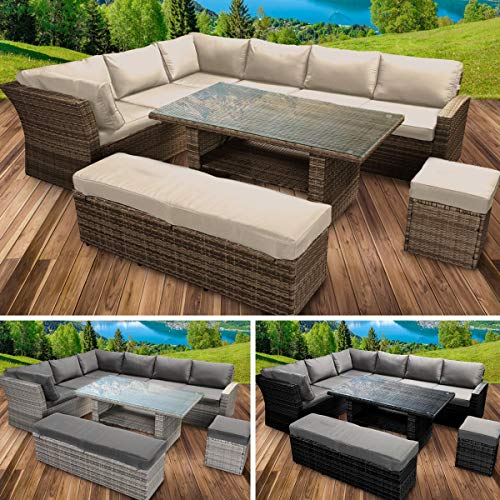 BRAST Poly-Rattan Gartenmöbel Essgruppe Lounge Set Sitzgruppe Outdoor Möbel Garten Garnitur Sofa Holidays Braun Cappuccino