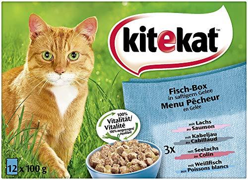 Kitekat Katzenfutter Fisch-Box in Gelee, 12 Stück (12 x 100 g)