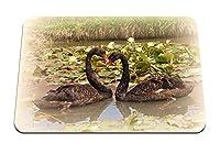 22cmx18cm マウスパッド (白鳥湖スイレンペア忠実鳥) パターンカスタムの マウスパッド