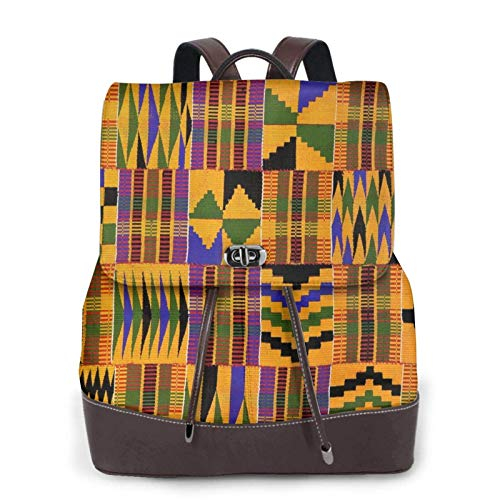 Women'S Leather Backpack,African Ethnic Pattern Print Women'S Leather Backpack