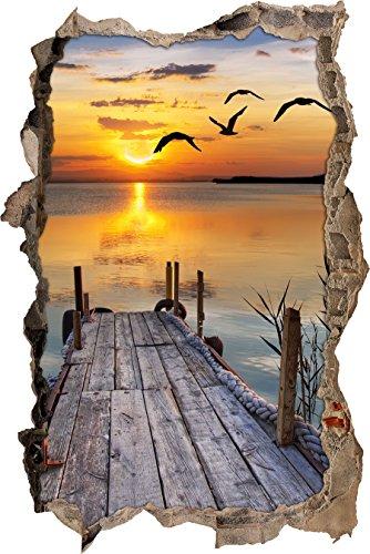 Pixxprint 3D_WD_S2521_92x62 kleiner Steg mit bezauberndem Sonnenuntergang Wanddurchbruch 3D Wandtattoo, Vinyl, bunt, 92 x 62 x 0,02 cm