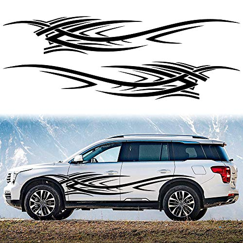 TOMALL 2Pcs 94.4'' Flame Graphics Car Body Side Stickers Flame Racing Sports Stripe Decal for Car...