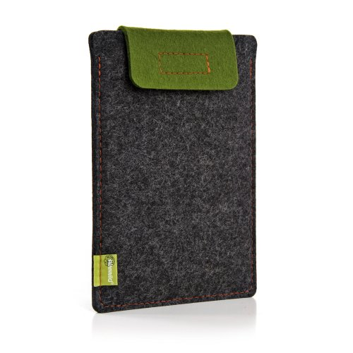 Almwild® Hülle Case iPad 11. iPad 10.2, 10.5 auch mit Smart Cover. Natur- Filz - Sleeve in Schiefergrau, Schwarz. Verschluß Moos- Grün. iPad Tasche aus bayerischer Manufaktur