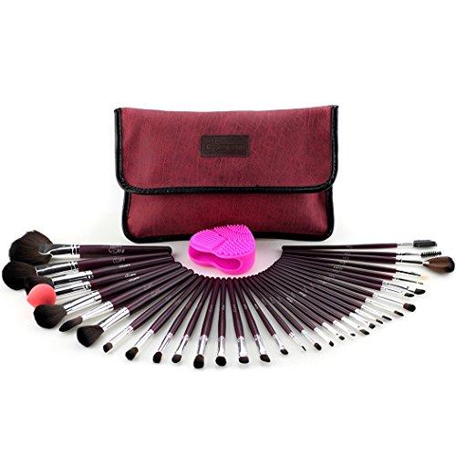 """""""Ensemble de pinceaux de maquillage Glow Red/Maroon - Ensemble de 34 pinceaux de maquillage avec nettoyant/récureur de pinceaux de maquillage pour le maquillage - Rouge/marron Couleur"""""""