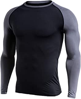 Men's Long Sleeve Sports Quick Dry Thermal Gym Top Athletic Activewear T-Shirt Tights Tee Shirts