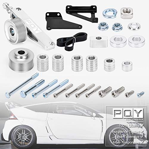 PQY Verstellbares EP3 Riemenscheiben-Set A/C & P/S Eliminator Kit mit Riemen für Honda 8. 9. Civic alle K20- und K24-Motoren