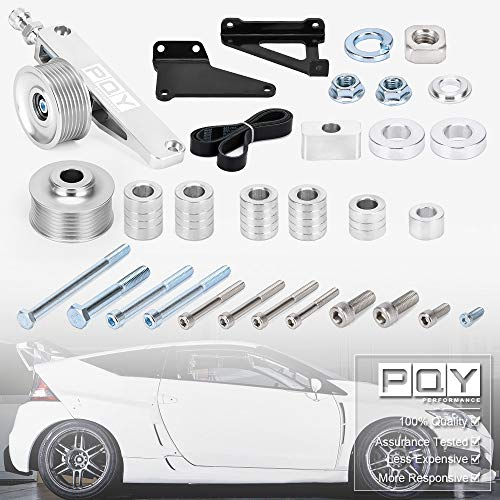 PQY Adjustable EP3 Pulley Kit A/C & P/S Eliminator Kit With Belt Compatible with Honda 8th 9th Civic All K20 and K24 engines