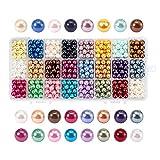 PandaHall Elite & reg 720pcs Umwelt gefärbt Glasperlen Runde Perlen, Mischfarbe, 8mm, Loch: 0,7~1,1...