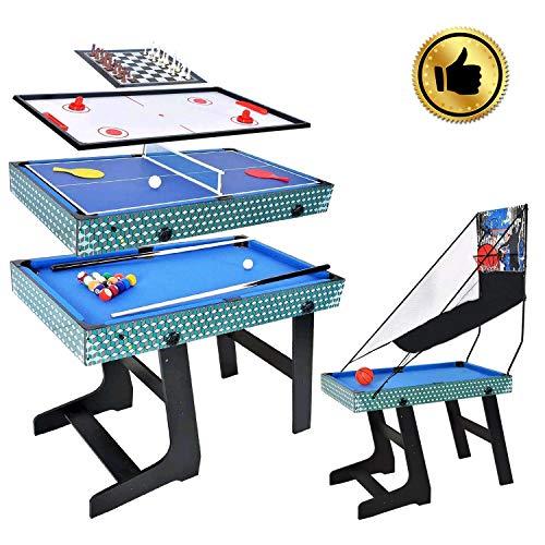 WIN.MAX Mesa de multijuegos 5 en 1, Canasta, Billar, ajedrez, Tenis de Mesa, Mesa de Hockey de Aire tamaño de la Competencia MDF Construcción Juego Divertido Trabajo Pesad