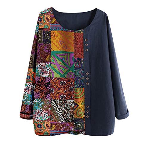 Xmiral Bluse Damen Langärmeliges Rundhals Oberteil Knopf T-Shirt Bluse Tops Muster Drucken Patchwork Baumwolle und Leinen Übergröße Sweatshirts(b Marineblau,XL)