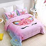 SIRDO Magical Unicorn Ultra Soft Girls Comforter Set Pink Twin Size Microfiber 3 Piece Bed Set for Teen Girls with Sparkle Stars Ombre Bedding Sets Machine Washable