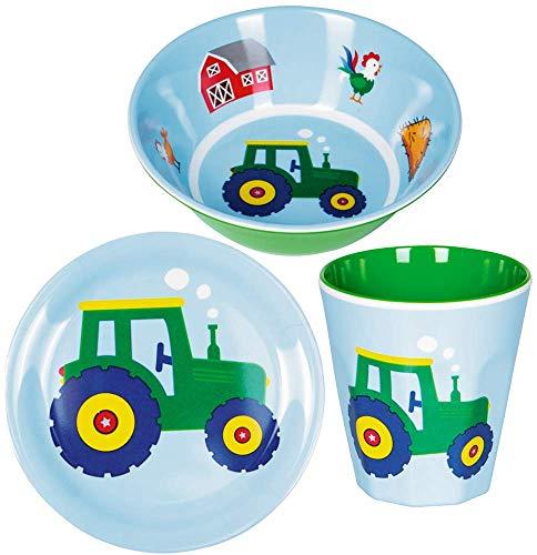 Spiegelburg Kinder 3er Set 15841 15842 15843 Kleiner Melamin-Teller Traktor + Melamin-Becher Traktor + Melamin-Schale Traktor