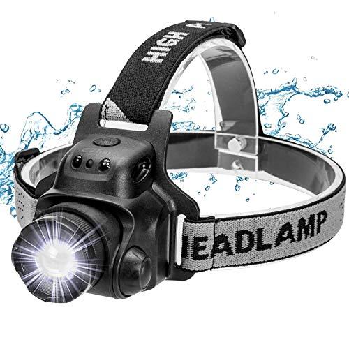 Ezfull Stirnlampe mit Gestensensor, LED USB Wasserdicht Wiederaufladbare Superheller Kopflampe, 4 Helligkeiten, 90° Verstellbar, Fokusverstellbar Perfekt fürs Laufen, Joggen, Angeln, Campen