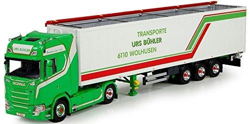 Tekno TEK71310 - Camión 4 x 2 Scania S730 y remolque Cargo Floor 3 ejes de colores, escala 1/50