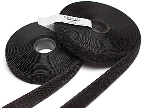 Purovi 5m Klettband, Flausch & Haken, 20mm breit, zum Aufnähen, schwarz