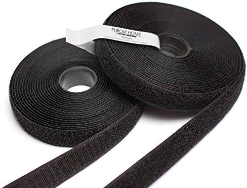 PUROVI 10m Klettband, Flausch & Haken, 20mm breit, zum Aufnähen, schwarz